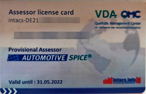 ASPICE Assessor License Card 500x320